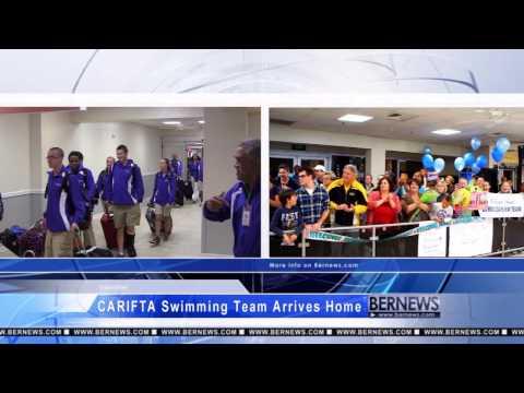 CARIFTA Swimming Team Arriving Home, Apr 2 2013