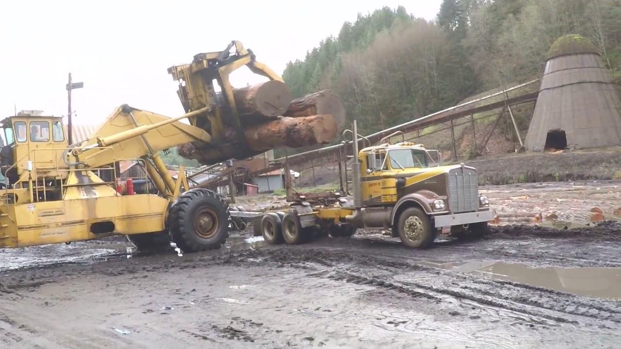 David hull hauling a three log load with kenworth