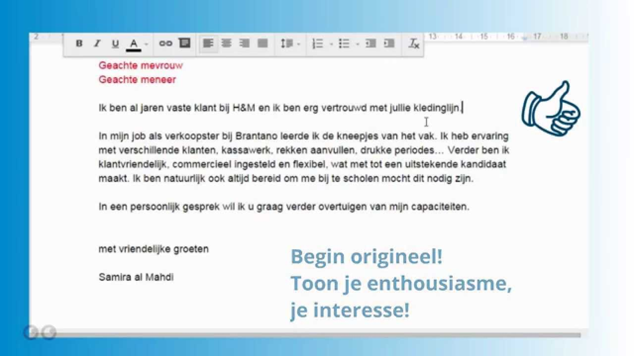 Een goede motivatiebrief   YouTube