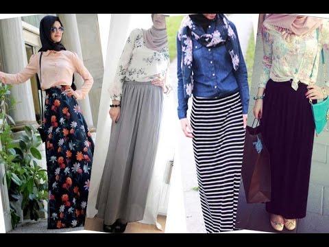 c8369d7a14a40 موديلات تنانير وبلوزات للمحجبات Hijab Maxi Skirt   Blouse Outfit ...