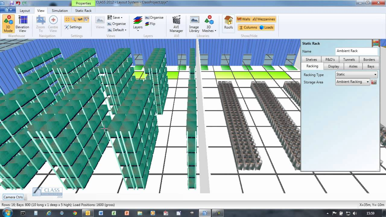 Class warehouse layout and simulation youtube for Warehouse racking layout software free