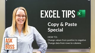Useful Excel Tips - Copy and Paste Special