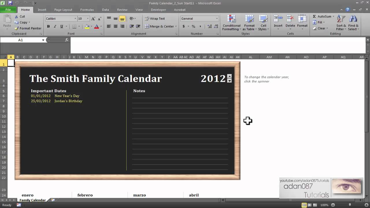excel insert calendar every year youtube