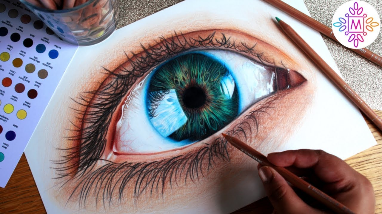 Drawing a Hyper Realistic Eye in Colour Pencil - YouTube