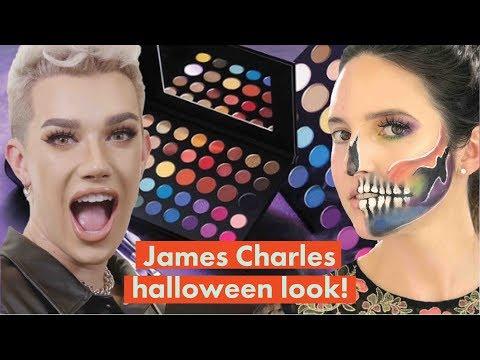 James Charles Morphe Mini Palette Halloween Rainbow Skull Makeup Challenge! | Cosmopolitan thumbnail