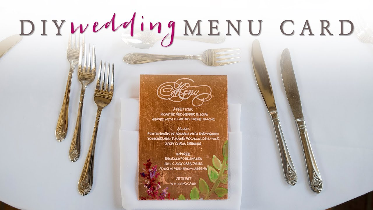 DIY Wedding Decor: Gorgeous Wedding Menu Cards - YouTube