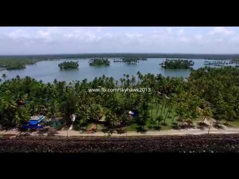 Arabian sea and backwaters of Kerala, India. Aerial stock footge 4K