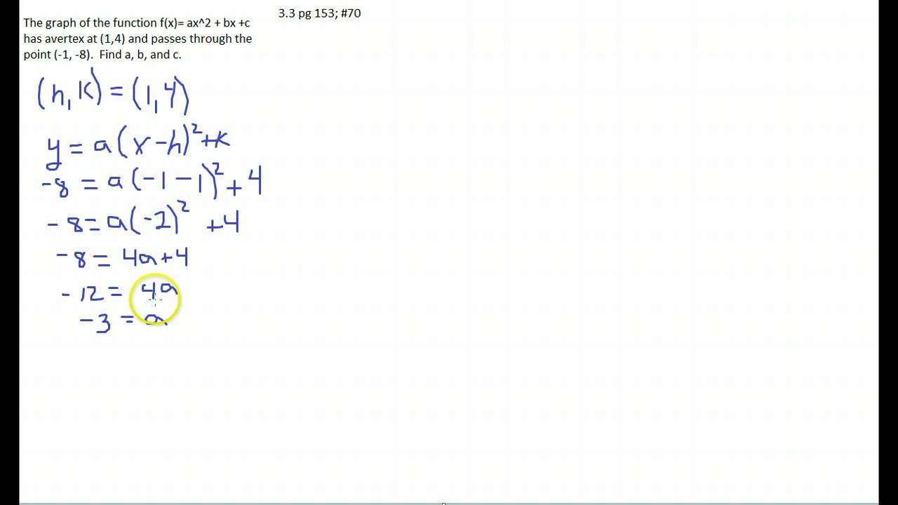 Write equation of a parabola in standard form youtube falaconquin