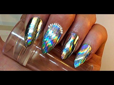chrome holo fusion nail design