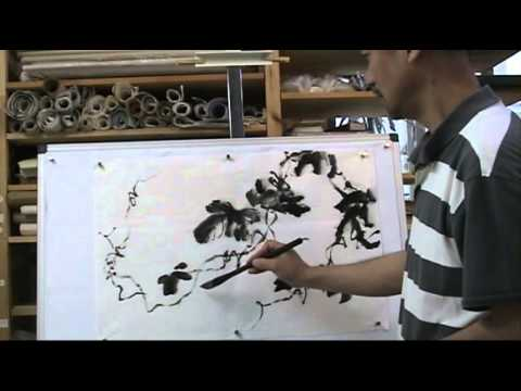 How to Paint Grape Leaves in an Ancient Style Chinese Mop Brush (2/2)