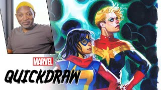 Brian Stelfreeze draws Captain Marvel & Ms. Marvel | Marvel Quickdraw