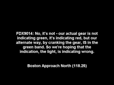 FedEx Landing Gear Emergency at Boston - ATC Recording 12th April 2012