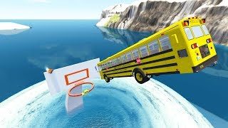 High Speed Jumping Into Giant Water Vortex Basketball Hoop - BeamNG.Drive(Slam Dunk)
