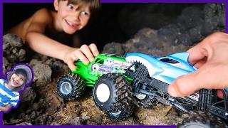 Monster Trucks Explore Lava Rock Cave!