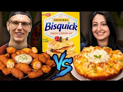 Bisquick Battle: Cheesy Monkey Bread vs. Crabcake Corn Dogs