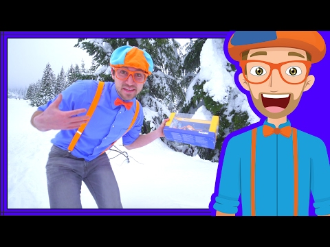 Winter Blippi Video | Play Time In The Snow With Snowmobile