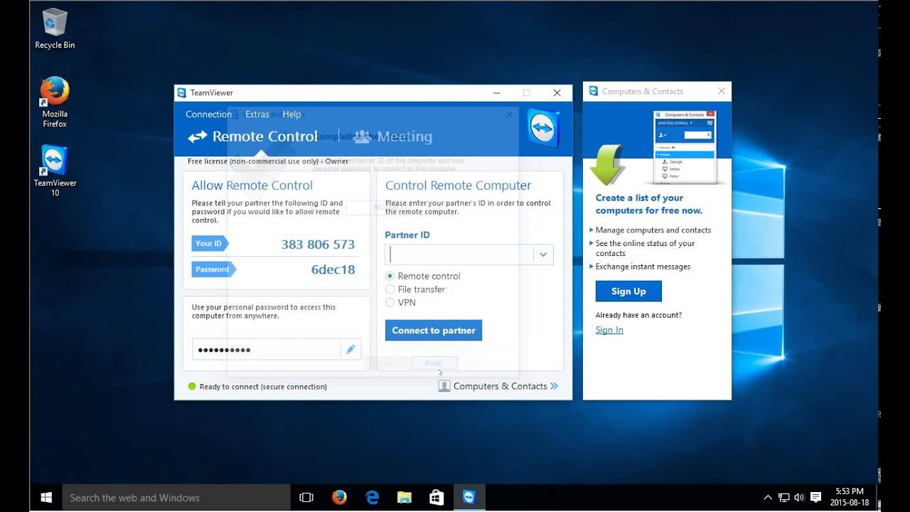 Windows 10 - Remote Control and Remote Access with FREE TeamViewer Software  - Remote Desktop