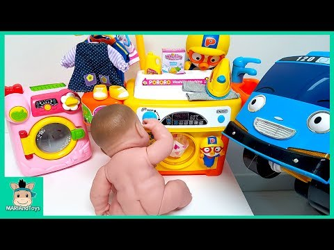 Thumbnail: Tayo Bus in Real Life. Littel Bus Baby Care Pororo Song Washing Machine Baby Doll Toys | MariAndToys