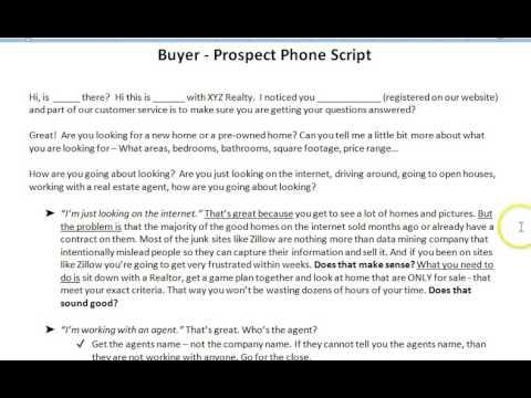 Buyer   Prospect Phone Script