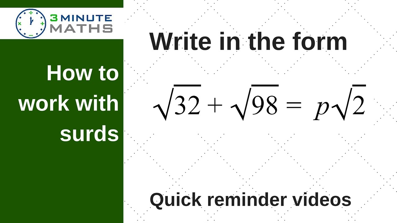 Write surds in the form gcse maths level 7 question youtube falaconquin
