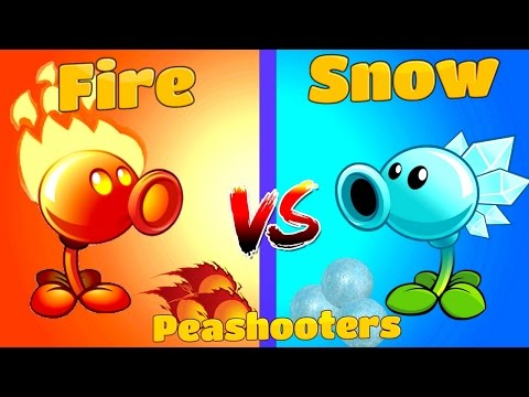 Plants vs Zombies 2 Mod Snow vs Fire Peashooter Challenge PVZ 2 Game from Primal