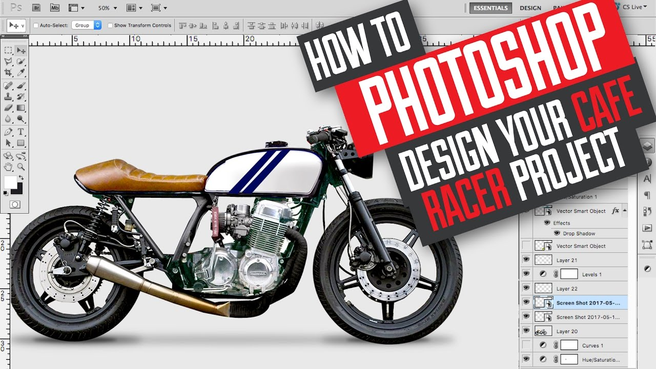 How to photoshop design and build a cafe racer scrambler motorcycle