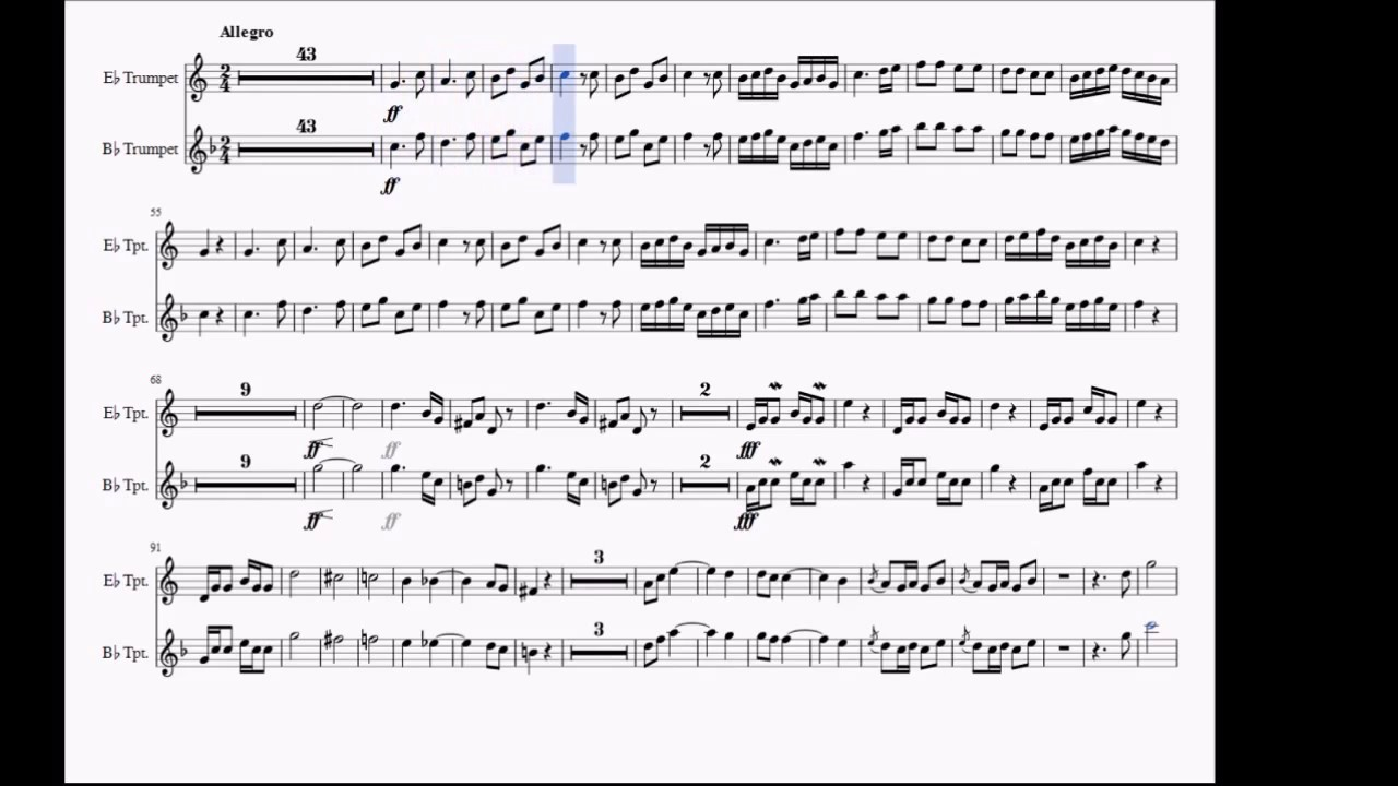 Haydn Trumpet Concerto 3rd movement Bb/Eb Trumpet play along + sheet music  download