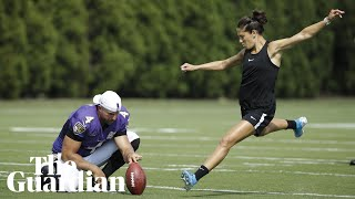 US footballer Carli Lloyd scores 55-yard field goal at NFL practice