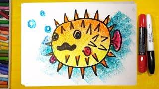 Как нарисовать РЫБУ ЕЖА, Урок рисования для детей, Развивающее видео(Я люблю рисовать и рисую для детей. Сегодня рисуем Рыбу Ежа или Рыбу Колючку.
