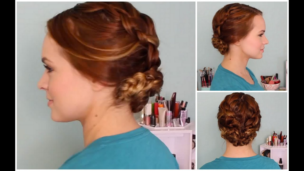 wet hair styles: braided updo - youtube