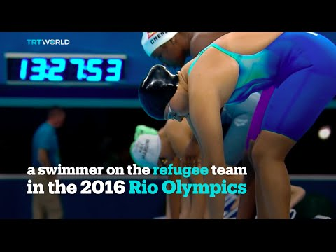Yusra Mardini, a swimmer on the refugee team in the 2016 Rio Olympics won her heat