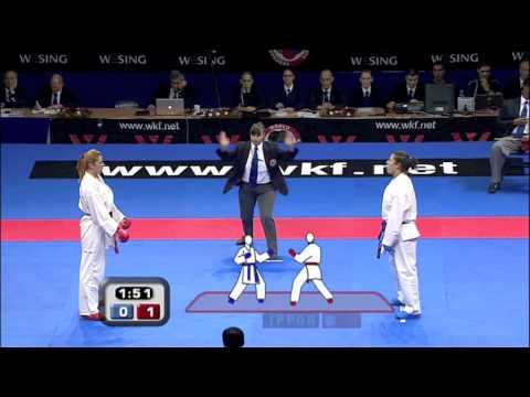 Fatima Zahra  of Morocco vs Merima Softic of Bosnia :: WKF World Karate Championships Belgrade 2010