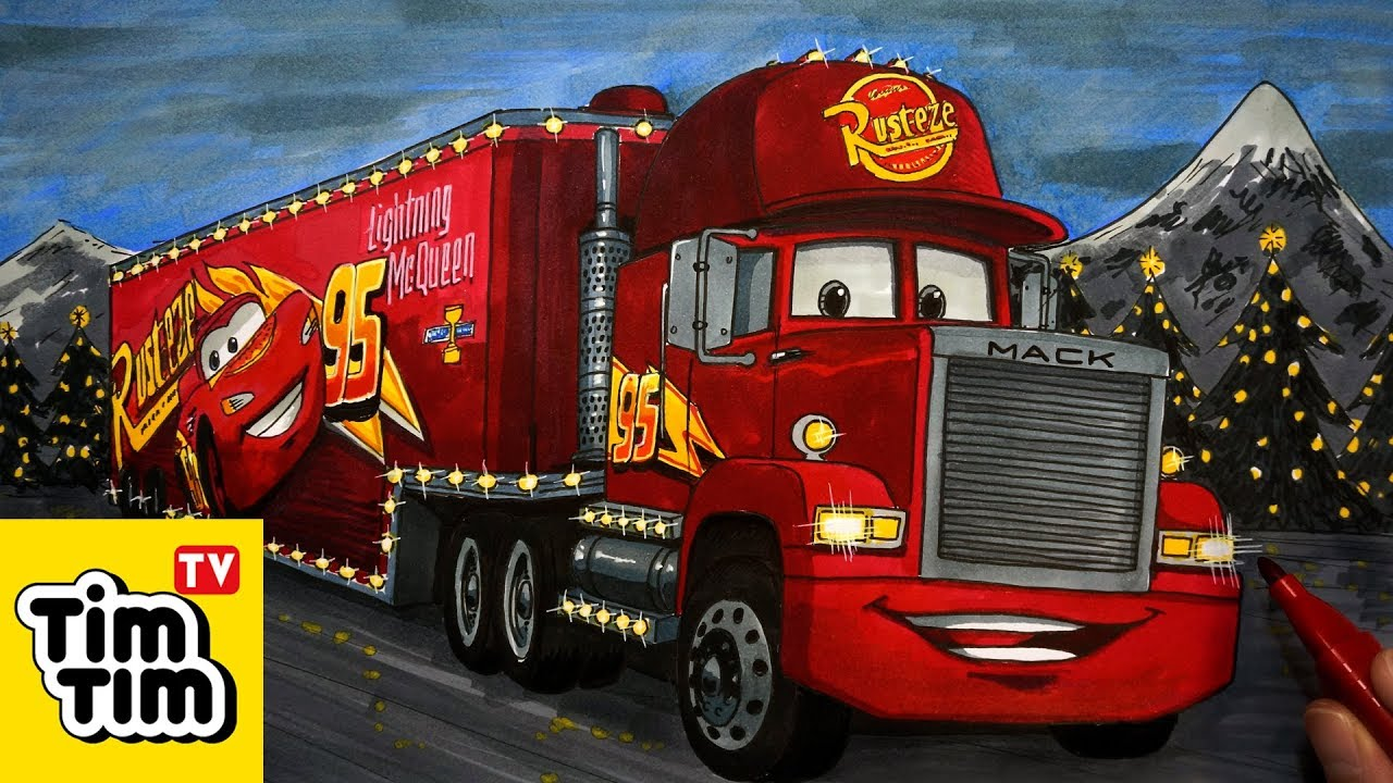 How to draw Cars 3 Mack Hauler Christmas Truck | Easy step ...