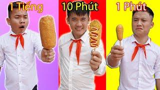 Hưng Troll | Thử Thách Xúc Xích Hot Dog 1 Phút Vs 10 Phút Vs 1 Tiếng - Xúc Xích Hot Dog Nào Ngon Hơn