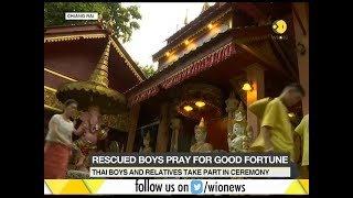 Thai boys' temple visit: Boys and their relatives take part in ceremony