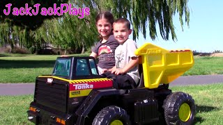 Tonka Ride On Mighty Dump Truck for Kids - Riding, Playing, Review, Surprise Toy for Jack Jack