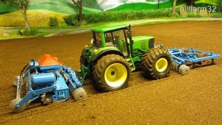 RC TRACTOR with haevy machinery - farm toy action