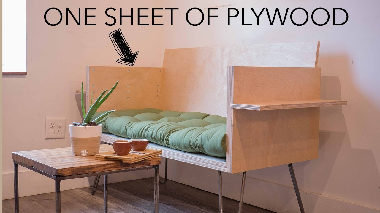 Diy Modern Sofa How To With 1 Sheet Of Plywood Youtube
