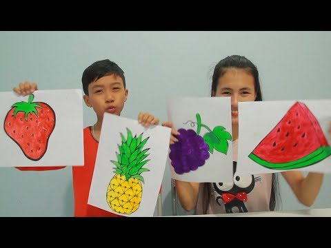 kids-learn-draw-and-coloring-fruit-grapes,-watermelon-education-activities-video-for-kids