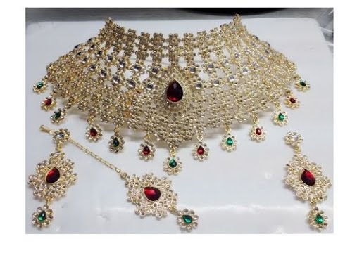 BRIDAL IMITATION NECKLACE SET JEWELLERY DESIGNS INDIAN IMITATION
