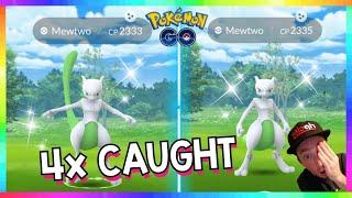 OMG! 4x SHINY MEWTWO CAUGHT in Pokemon Go!( 4 Shiny Mewtwo in 27 Raids )
