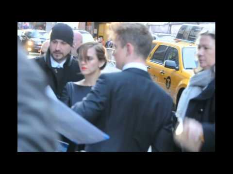 Emma Watson meets fans on a very cold day