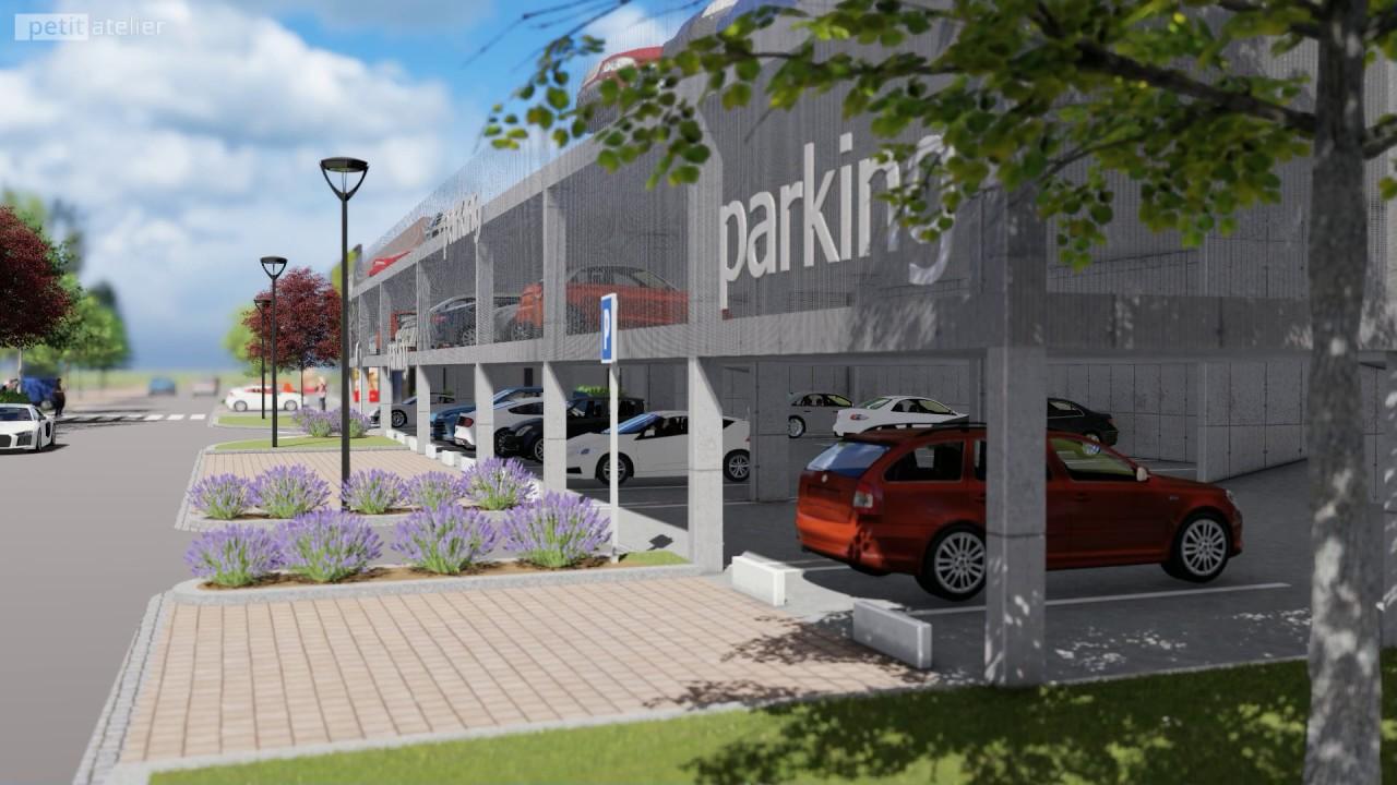 Hmotová studie parkovacího objektu u KB v Třinci