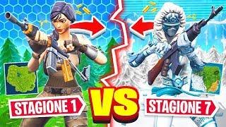 STAGIONE 1 vs STAGIONE 7 di FORTNITE! *ASSURDO*   Fortnite Challenge ITA