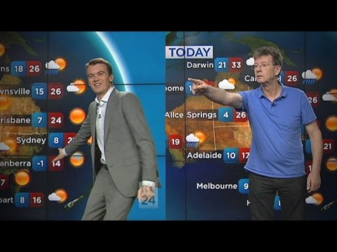 Red Symons, Michael Rowland try hand at weather presenting
