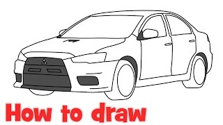 How to draw a car Mitsubishi Lancer Evolution 2015 Evo X step by step