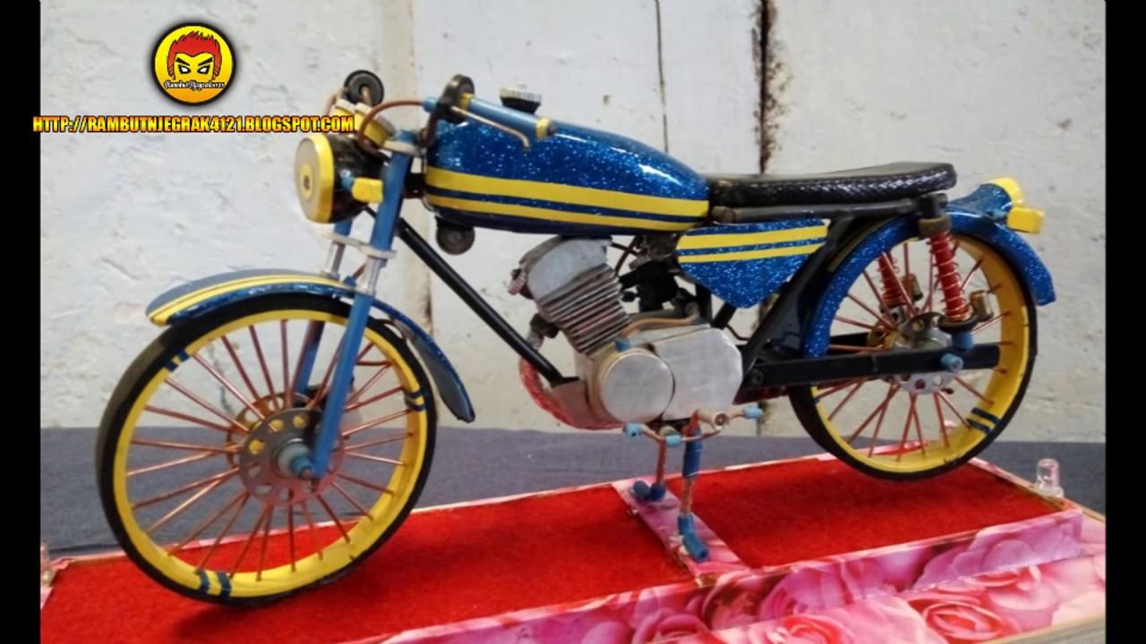 Miniatur Motor Cb 100 Dari Bahan Kabel Korek Gas Paralon Dan Sekoci