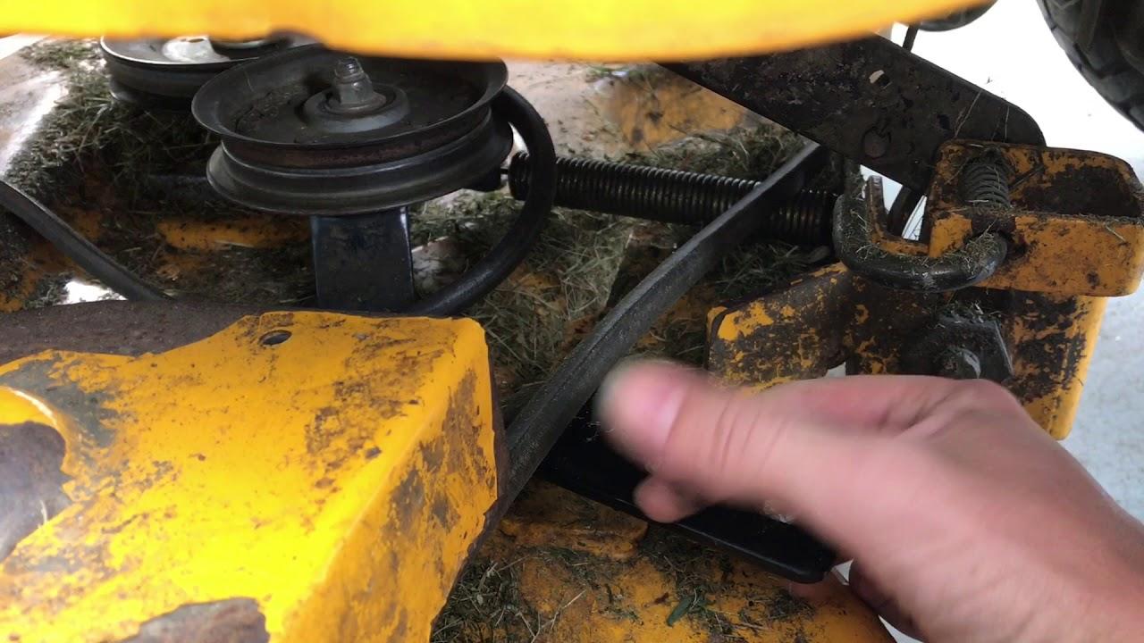 putting the belt back on a riding mower lt 1045 cub cadet  [ 1280 x 720 Pixel ]