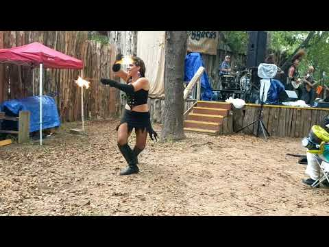 Blaggards + Solar Rain Fire Dancer at 2018 Sherwood Faire Celtic Music Festival