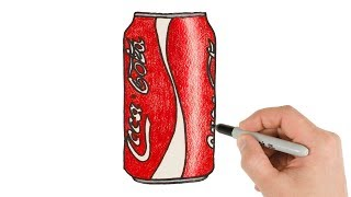 How to Draw Coca Cola Can Super Easy with Colored Pencils